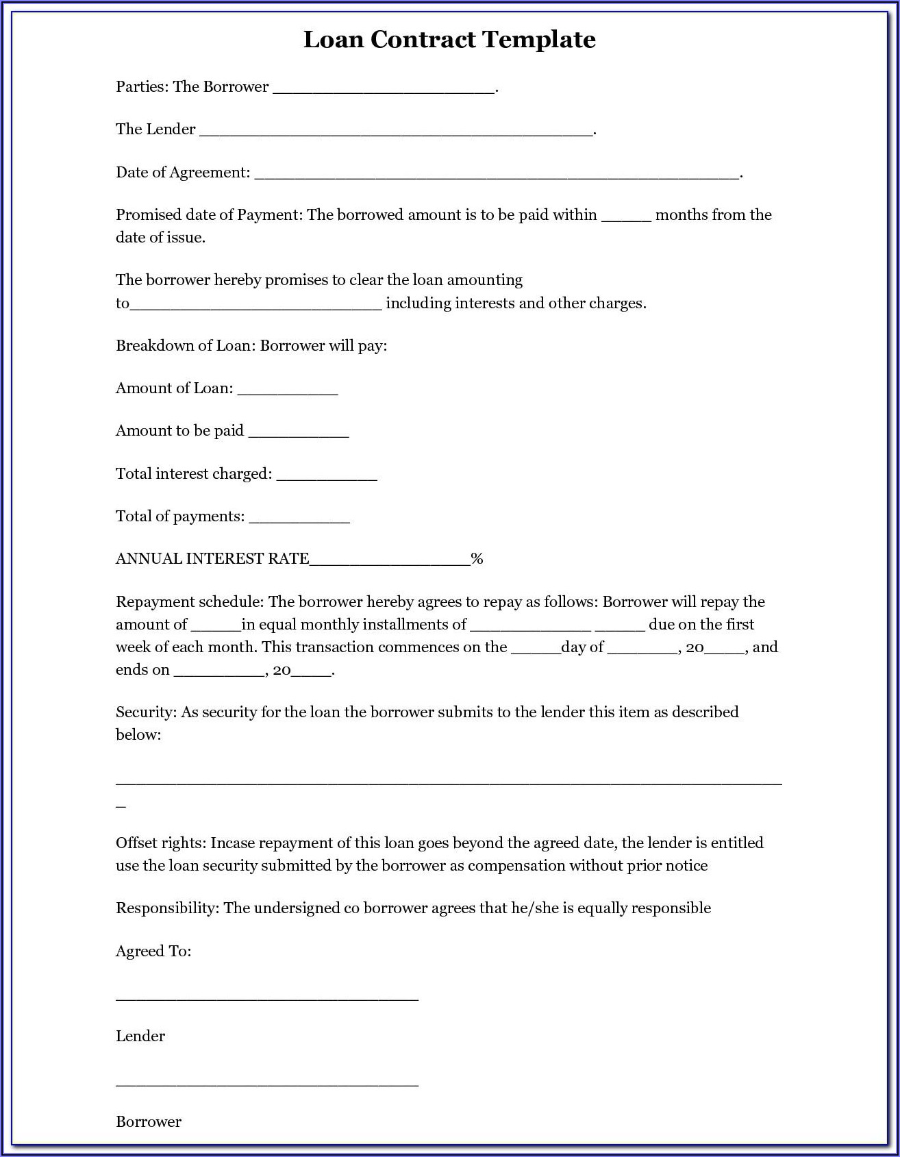 Free Loan Agreement Template Australia