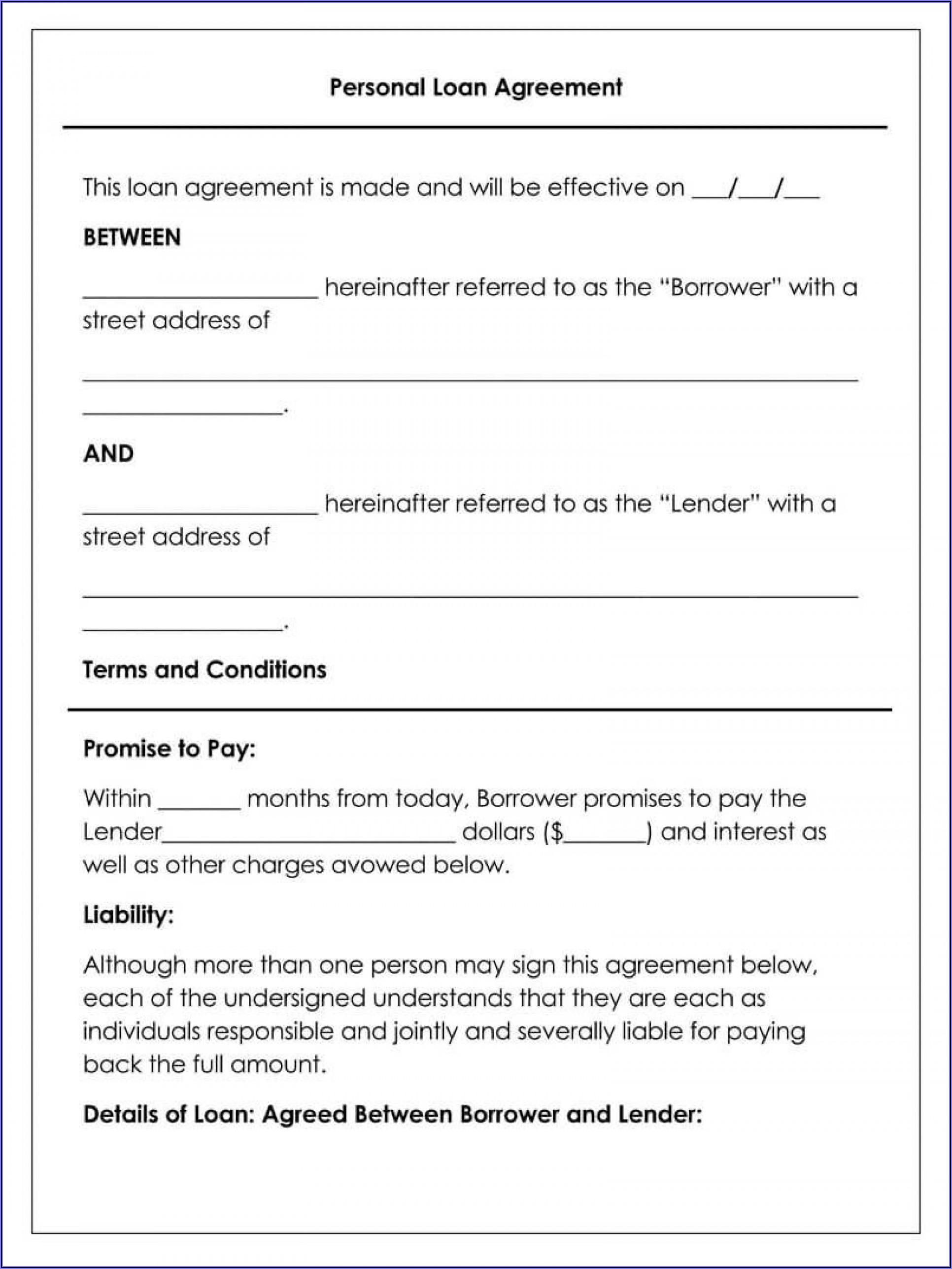 Free Loan Agreement Template Word