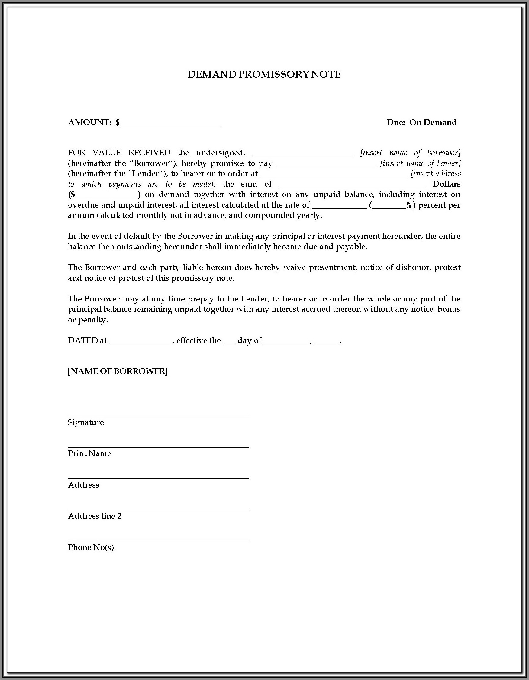 Free On Demand Promissory Note Template