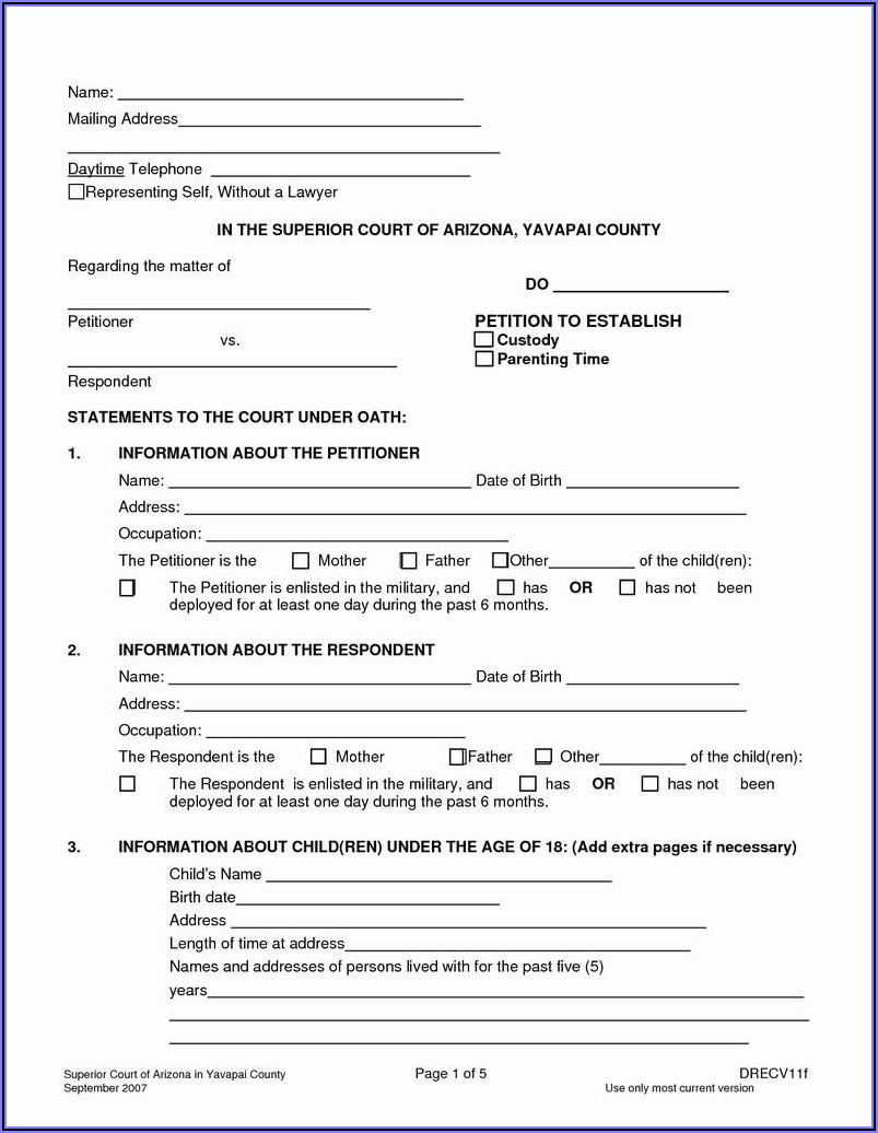 Free Printable Child Custody Papers
