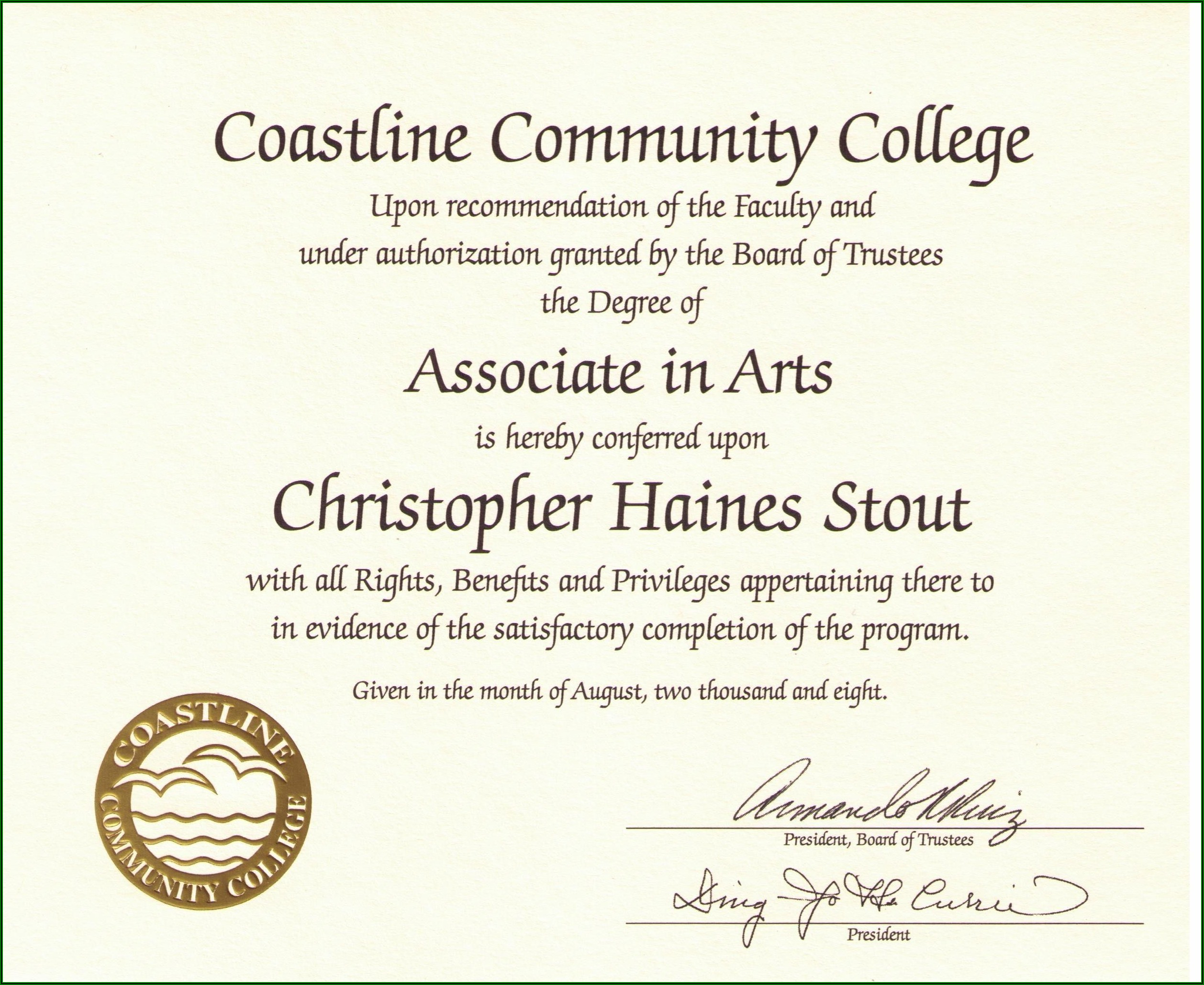 Free Printable College Diploma Template Pdf