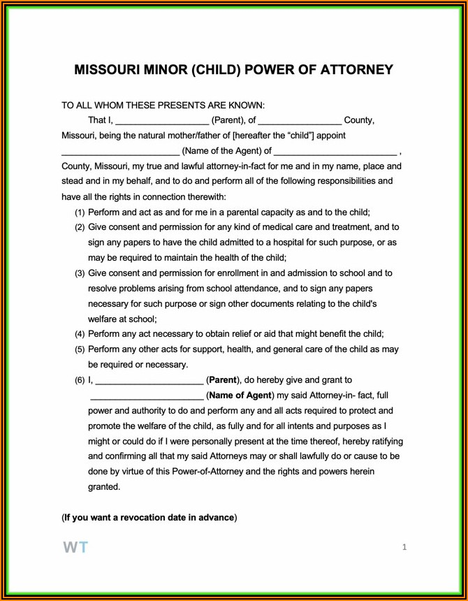 Free Printable Power Of Attorney Forms For Child