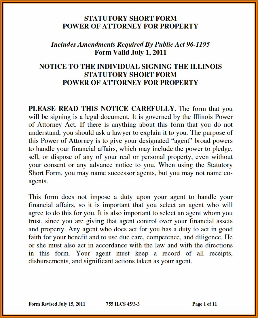 Free Printable Power Of Attorney Forms For Illinois