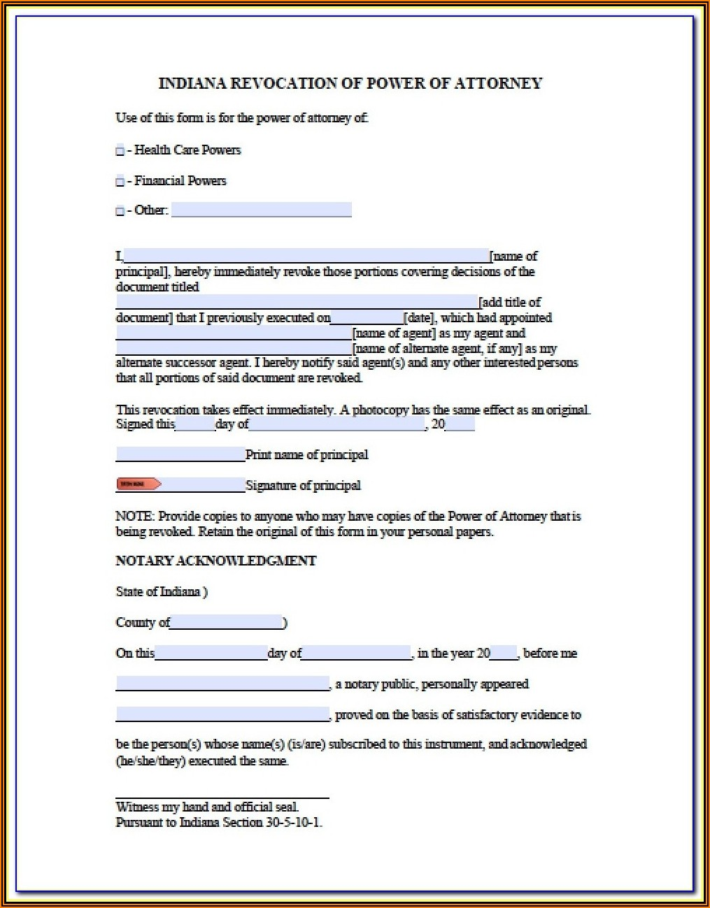 Free Printable Power Of Attorney Forms For Indiana
