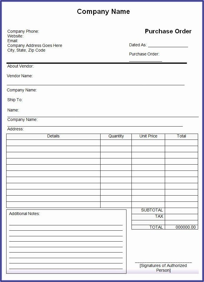 Free Sample Purchase Order Form Excel