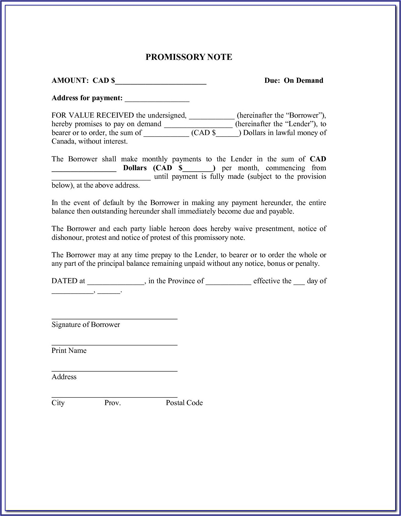 Free Template For Promissory Note For Personal Loan