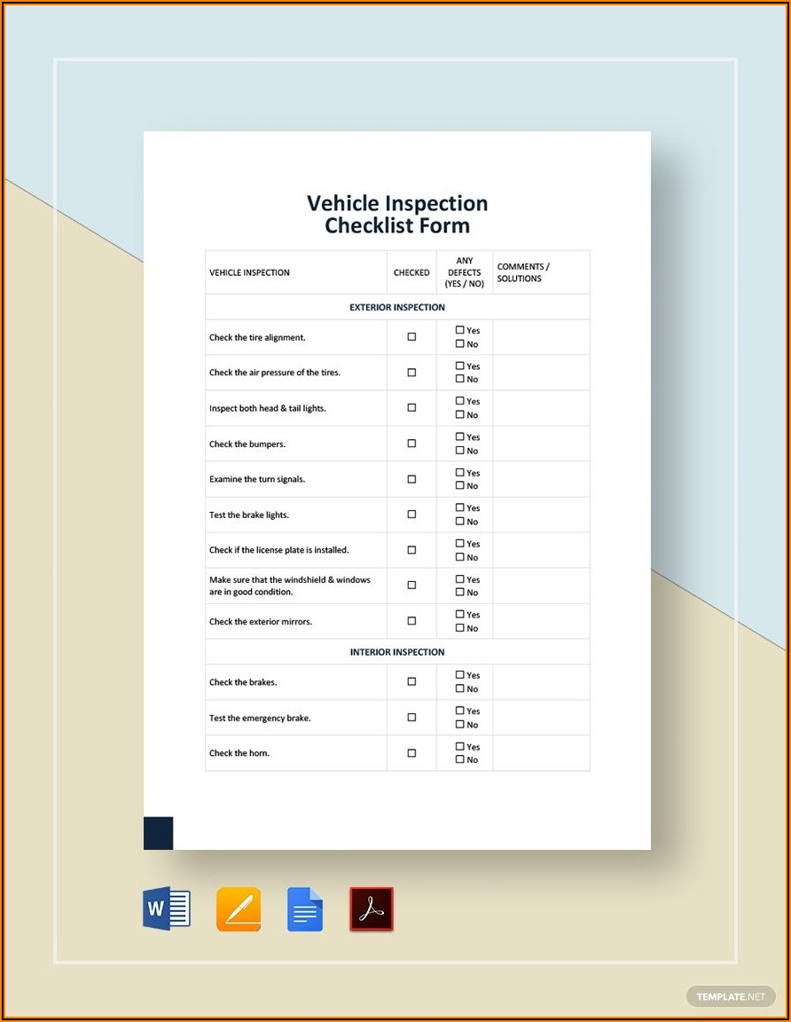 Free Vehicle Inspection Form Template Pdf