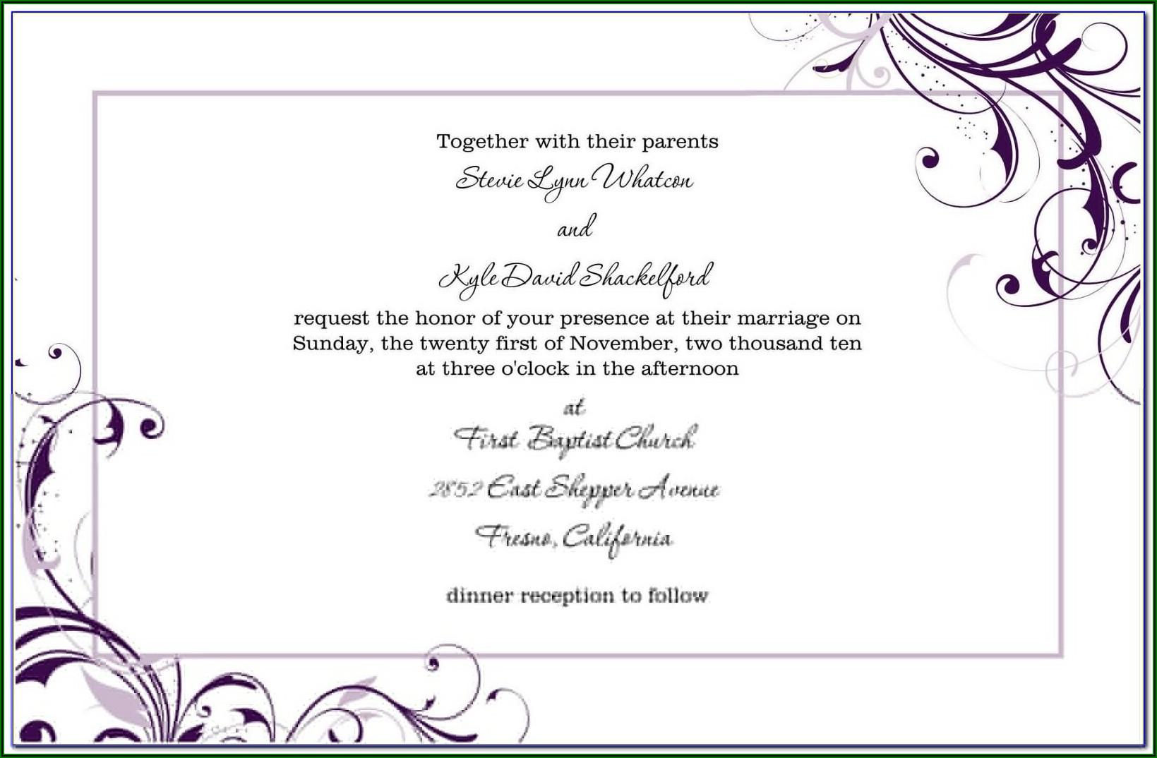 Free Wedding Reception Invitation Templates For Word