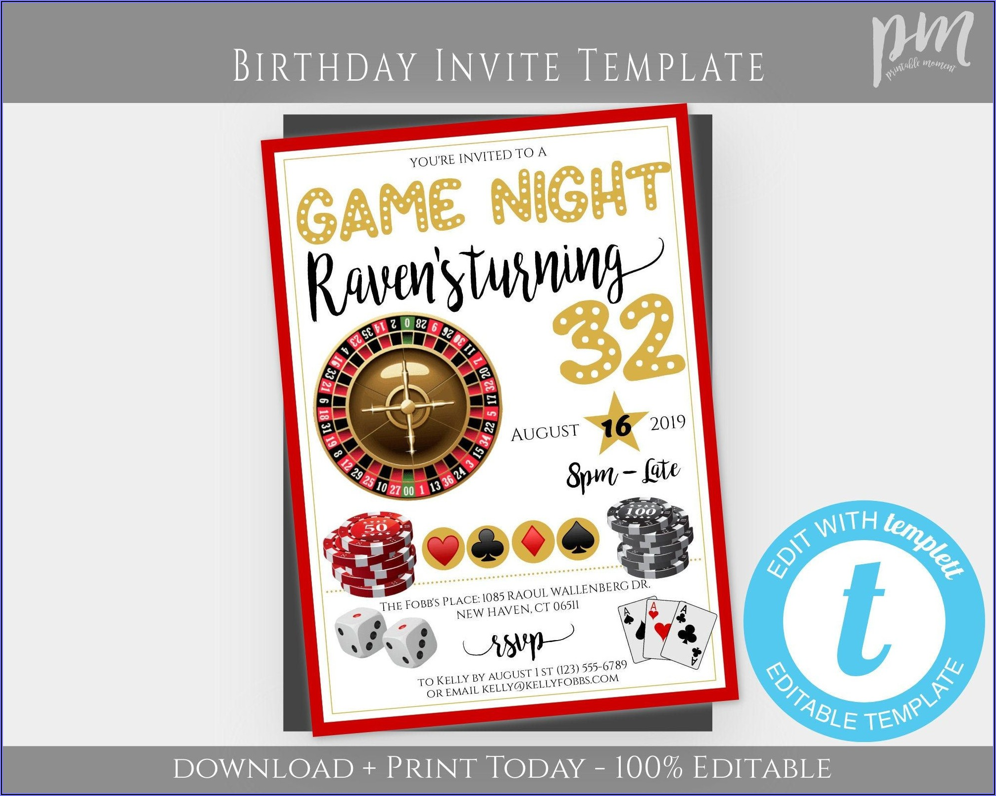 Game Night Party Invitation Template