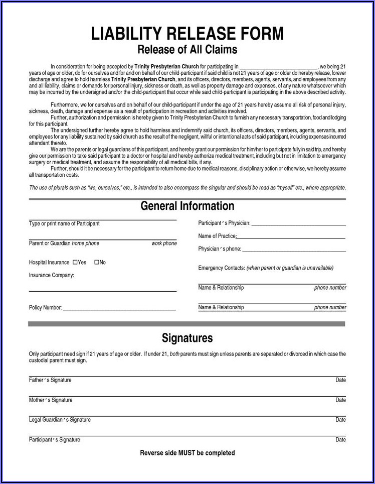 Generic Printable Waiver Form