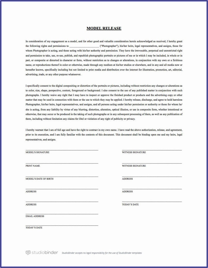 Generic Waiver Form Template
