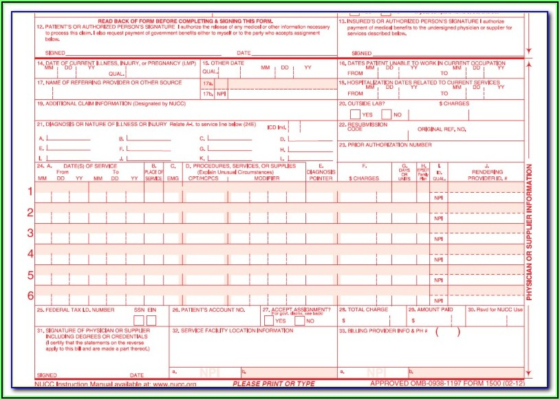 Hcfa 1500 Claim Form Template