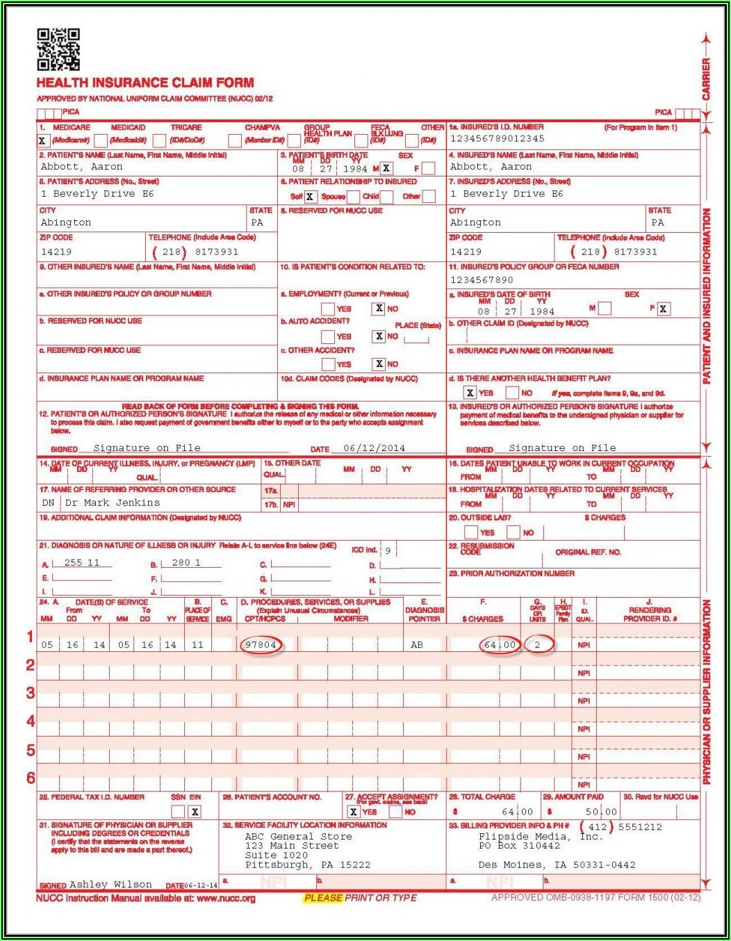 Hcfa 1500 Completed Cms 1500 Form Sample