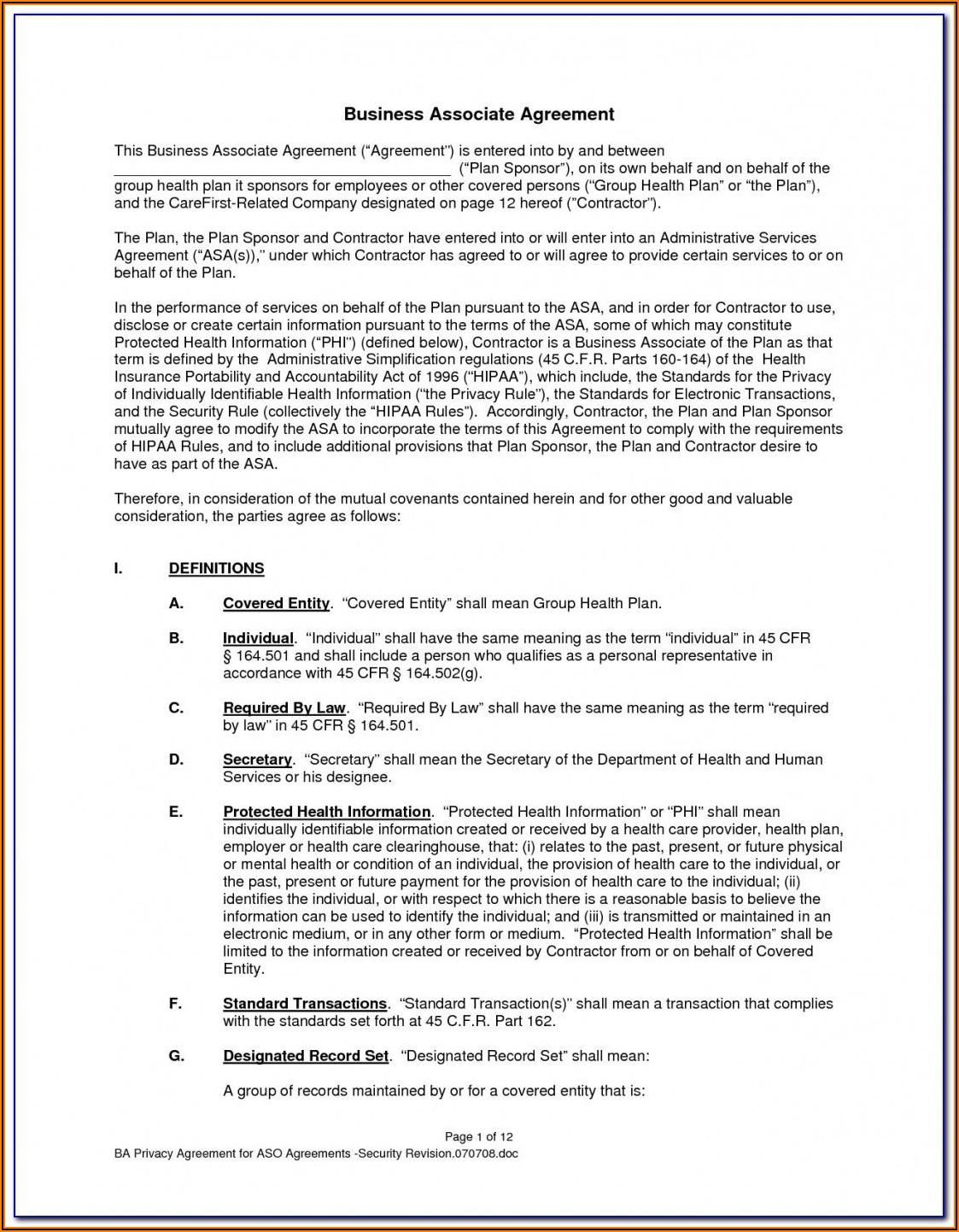 Hipaa Business Associate Agreement Form 2018