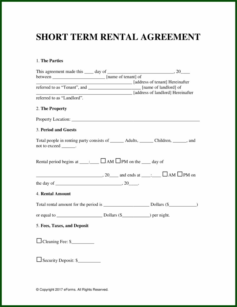 Holiday Home Rental Contract Template