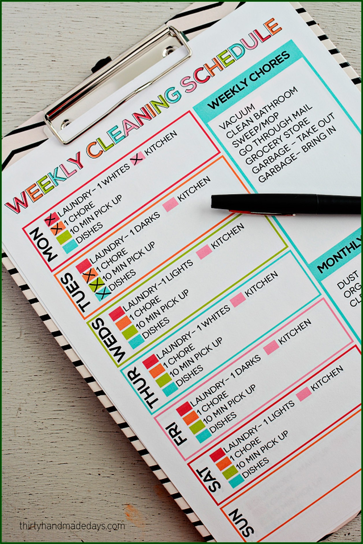 Home Bakery Cleaning Schedule Template