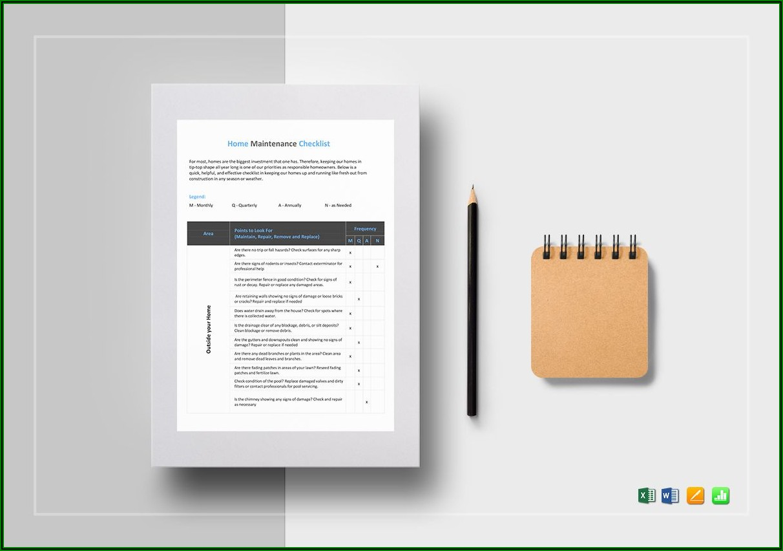 Home Maintenance Checklist Template Word