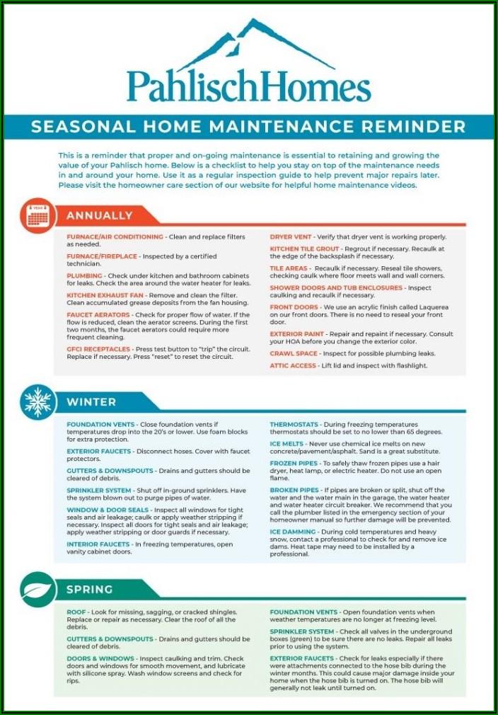 Home Preventive Maintenance Checklist Template