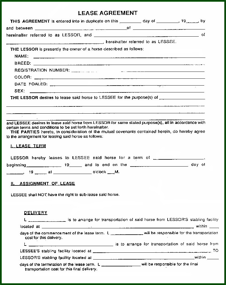 Home Rent Contract Forms