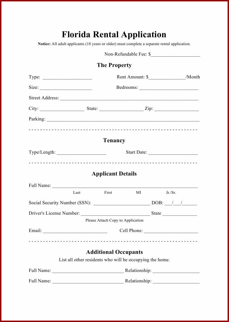 Home Rental Application Forms
