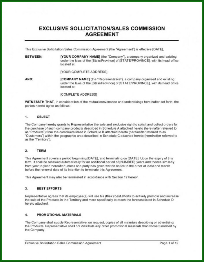 Independent Sales Rep Agreement Template