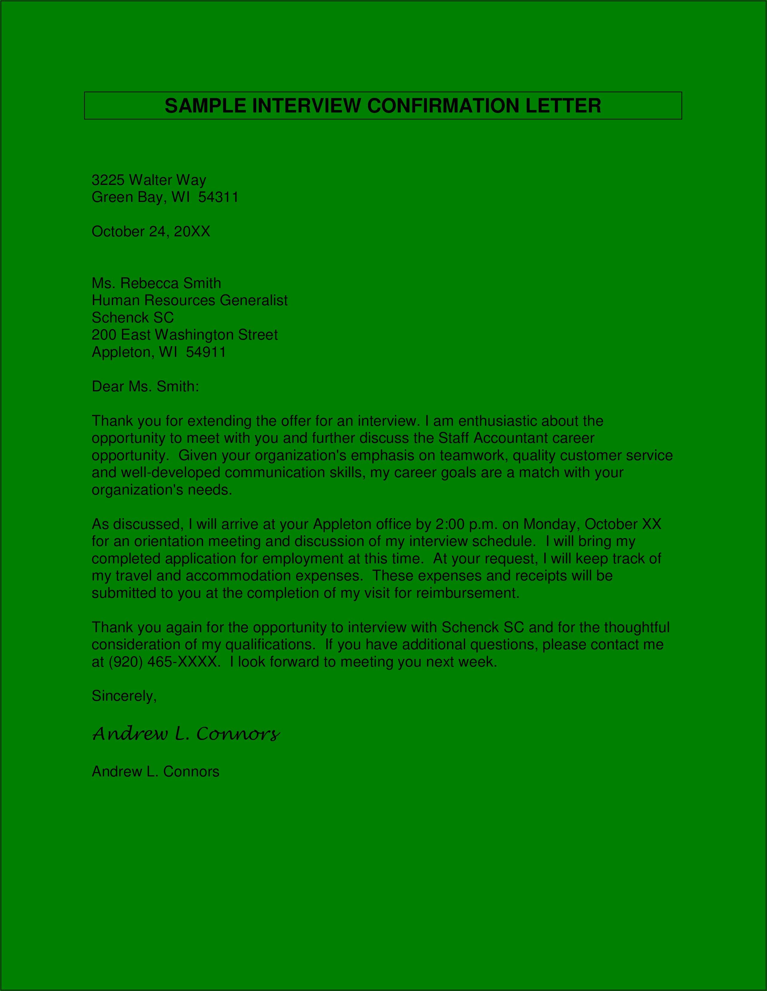 Invitation Confirmation Letter Template
