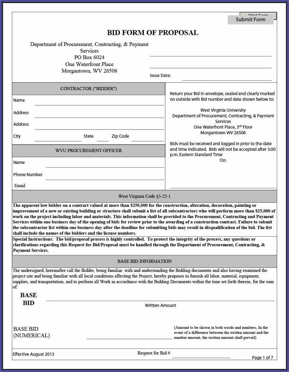 Invitation To Bid For Construction Projects Template