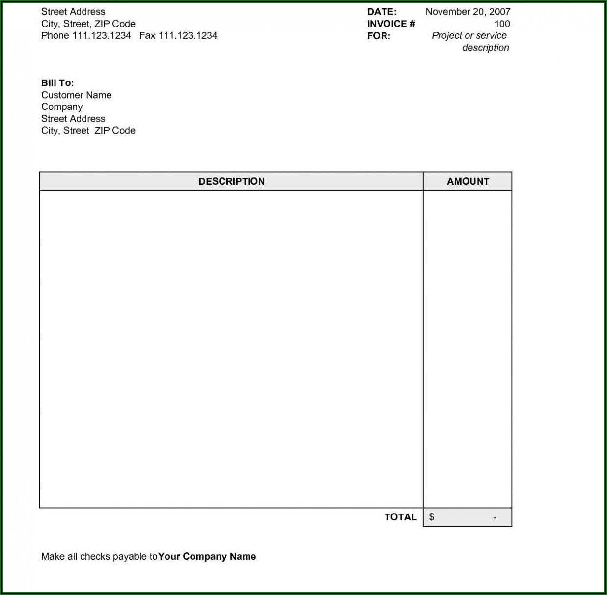 Invoice Template For Word 2007