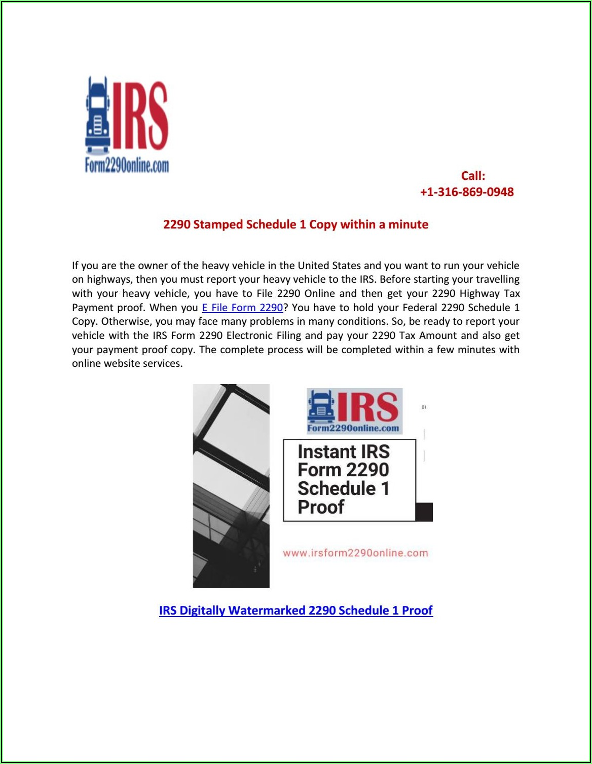 Irs Tax Form 2290 Schedule 1