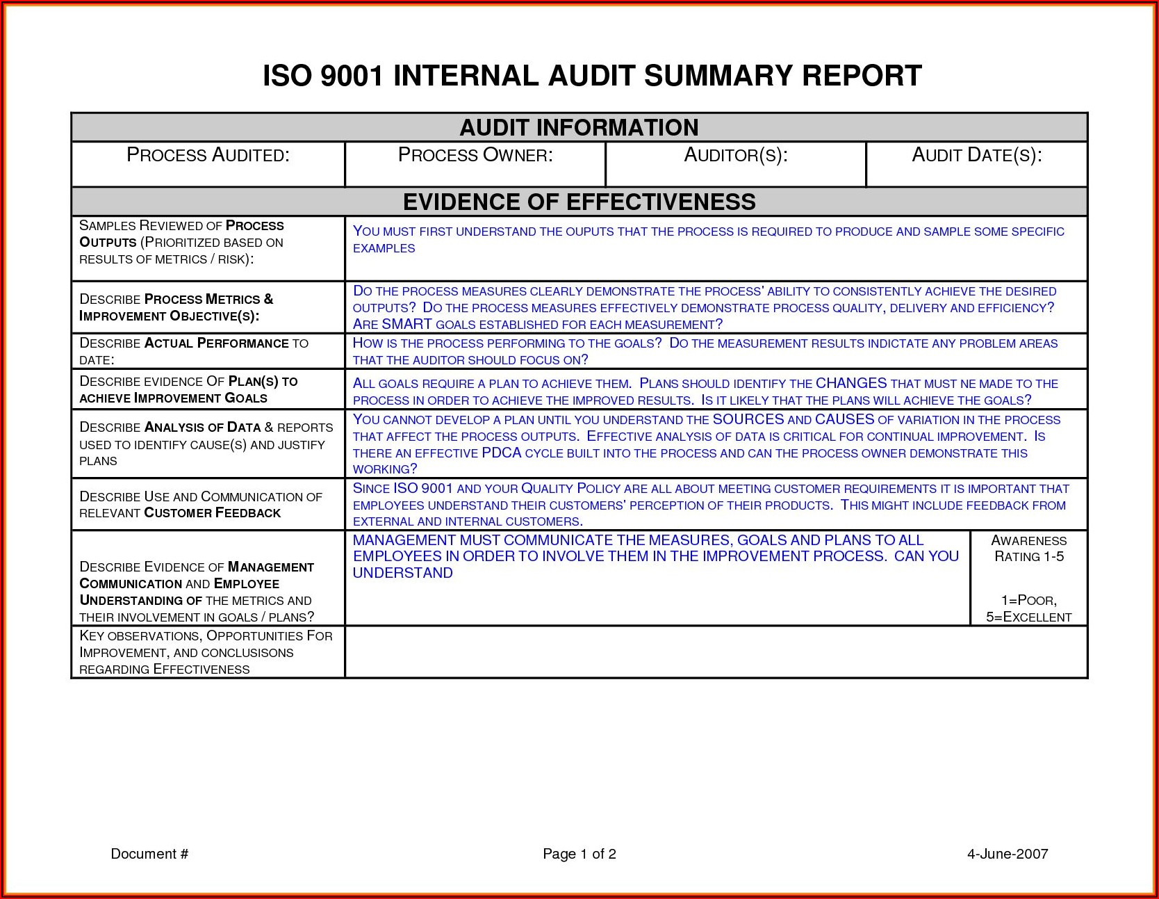 Iso 13485 Internal Audit Report Template