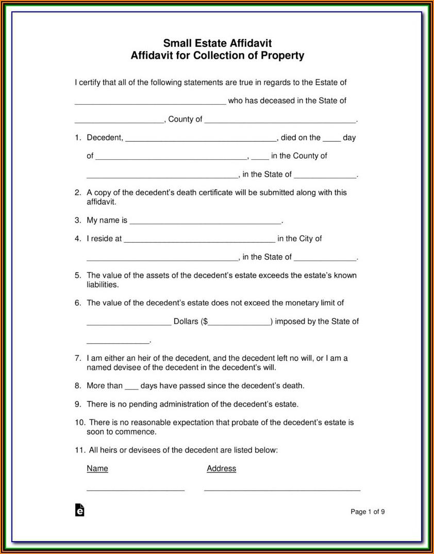 Jackson County Missouri Small Estate Affidavit Form