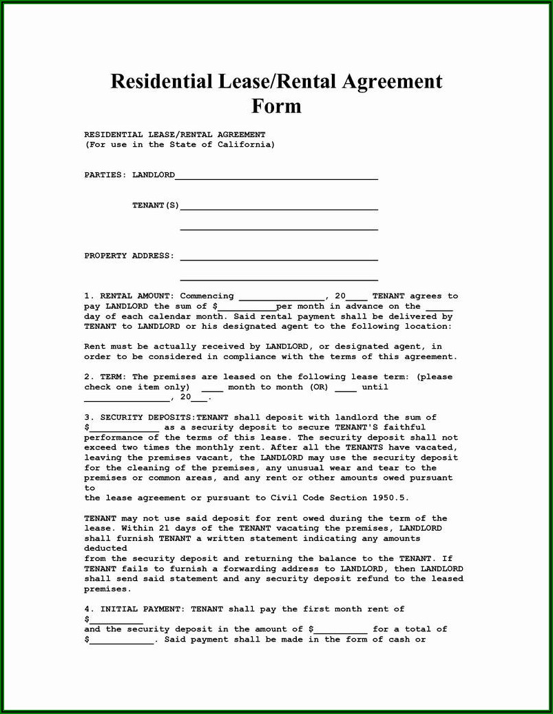Land Lease Agreement Form Free