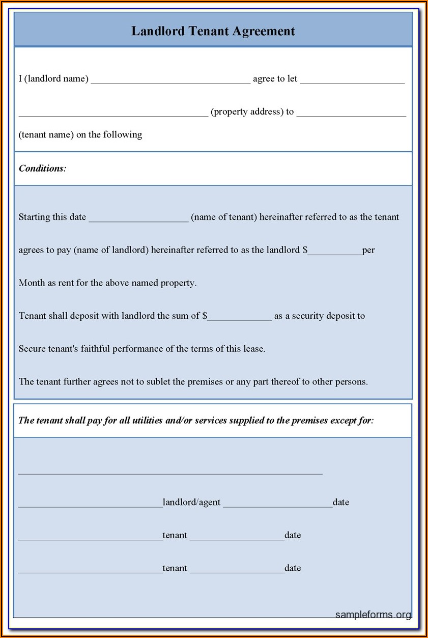 Landlord Tenant Agreement Forms Bc