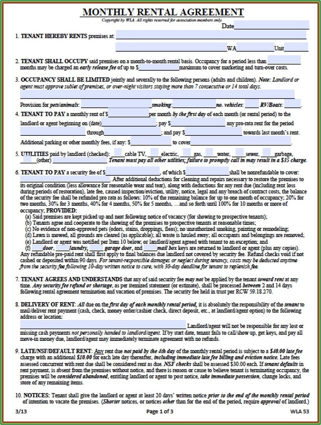 Landlord Tenant Rental Agreement Washington State