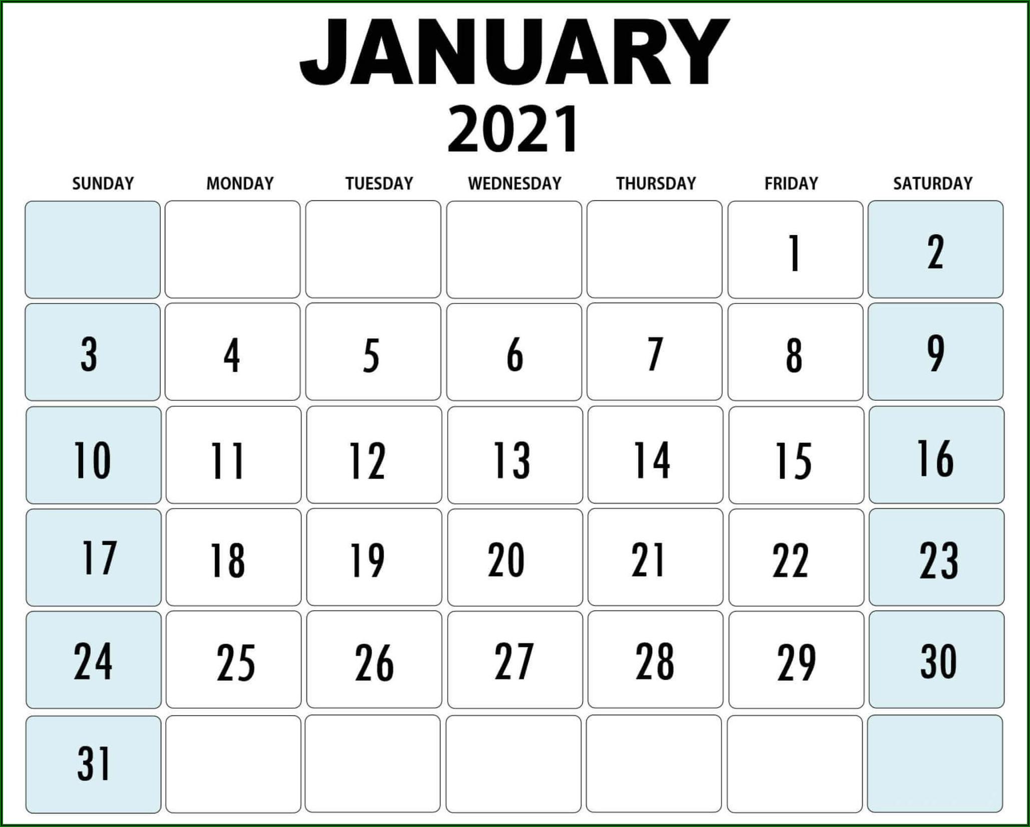 Large Print Blank Calendar Template