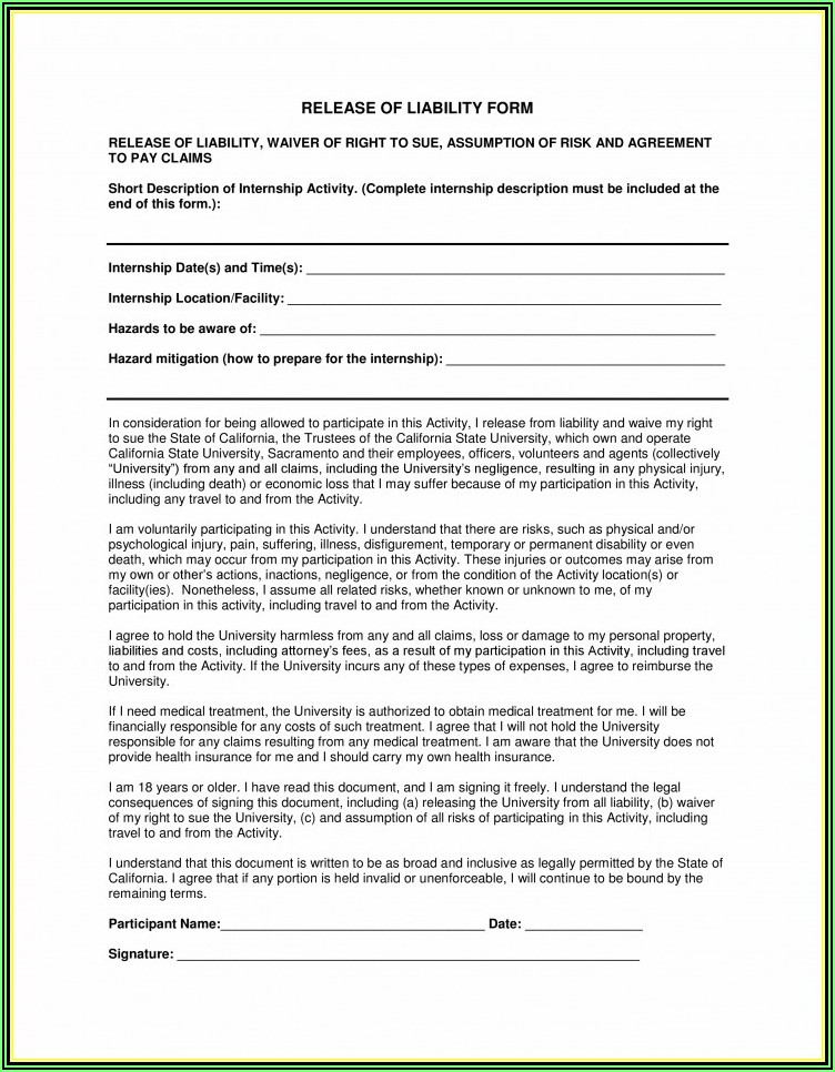 Liability Forms For Personal Trainers