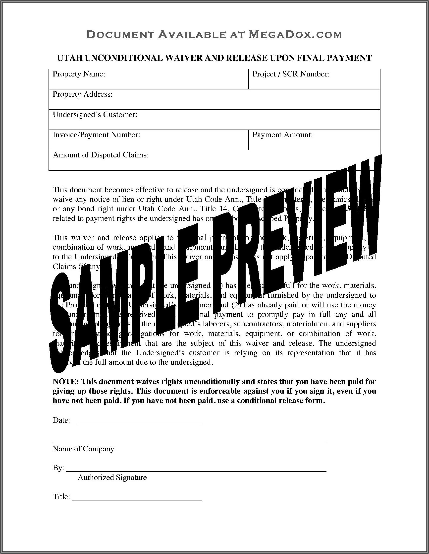 Lien Release Form Utah