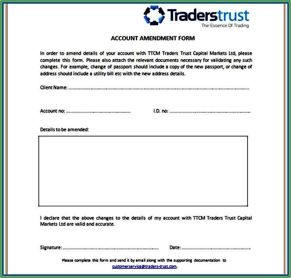 Living Trust Amendment Template