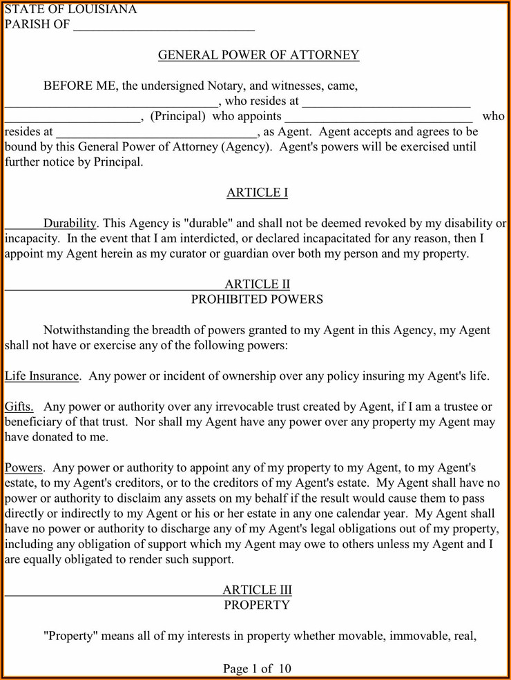 Louisiana Durable Power Of Attorney Template