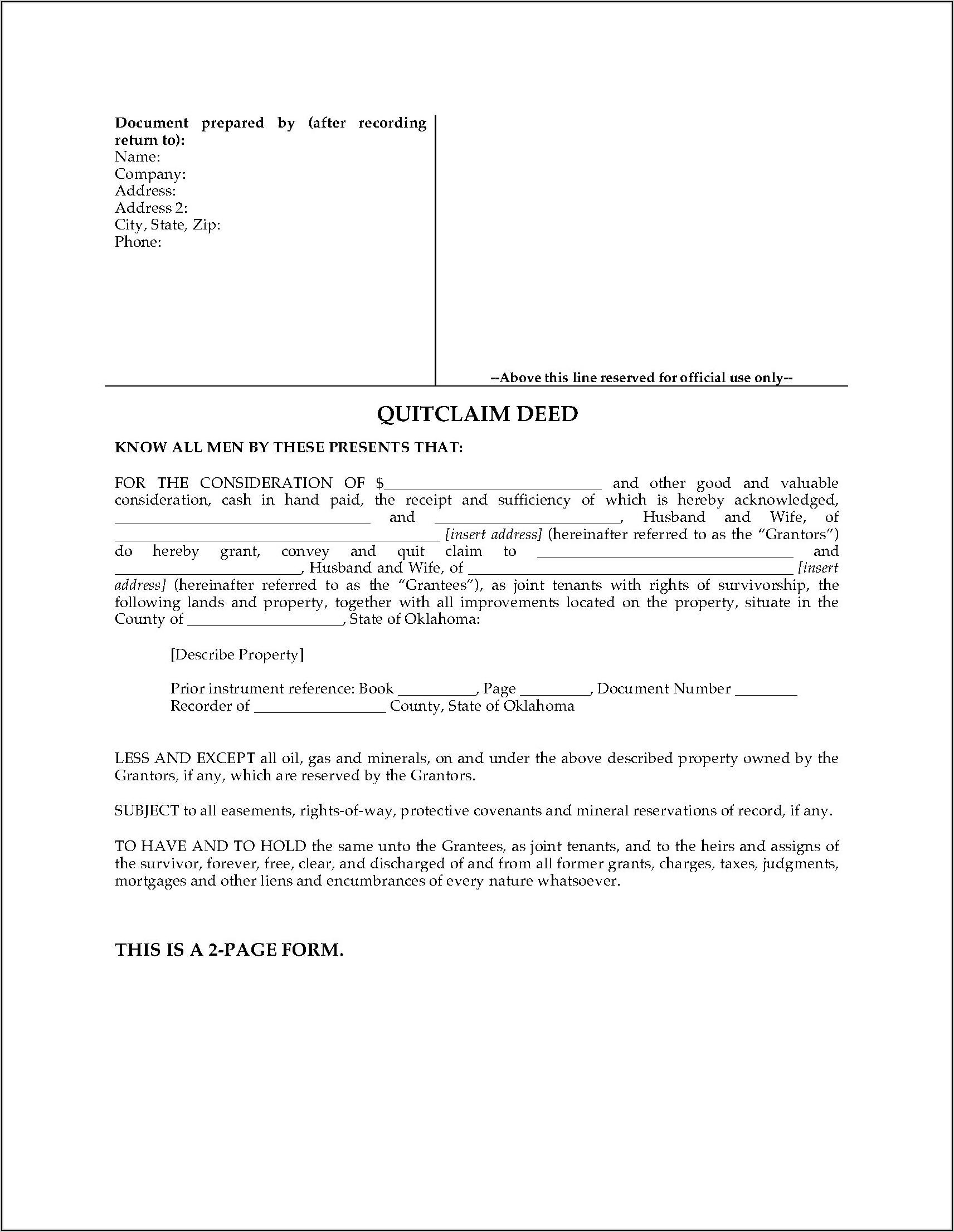 Mineral Deed Transfer Form Oklahoma