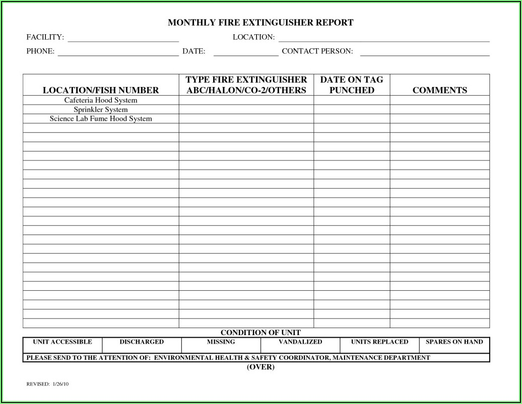 Monthly Fire Extinguisher Inspection Form Template