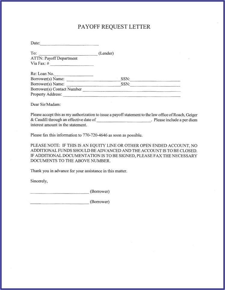 Mortgage Payoff Statement Template Word