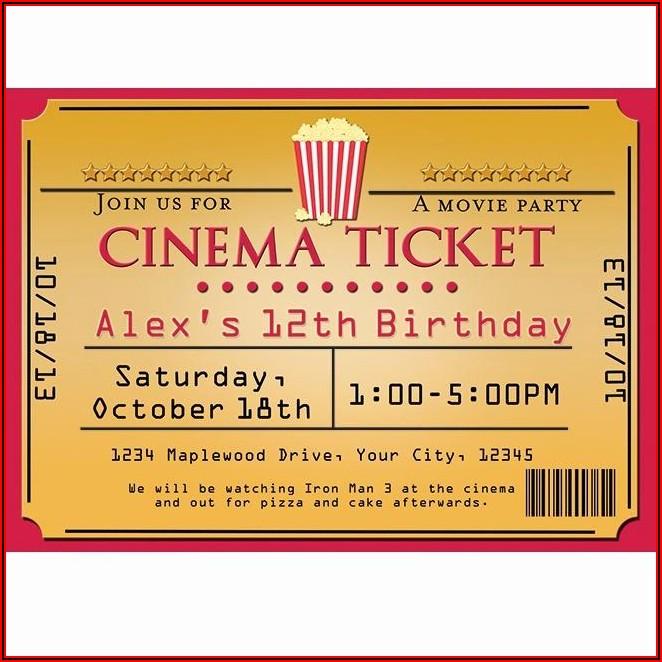 Movie Theater Ticket Invitation Template