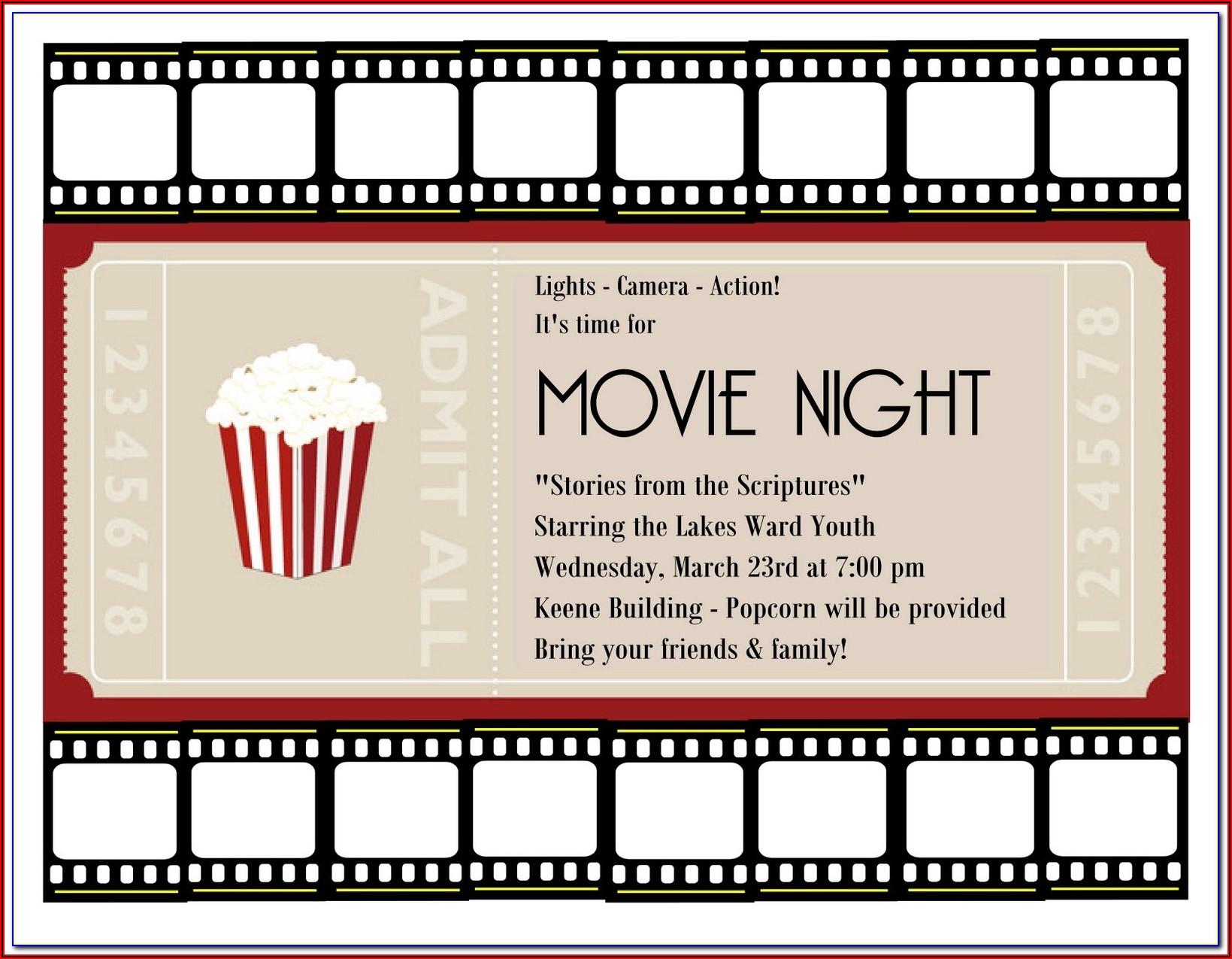 Movie Theater Ticket Printable