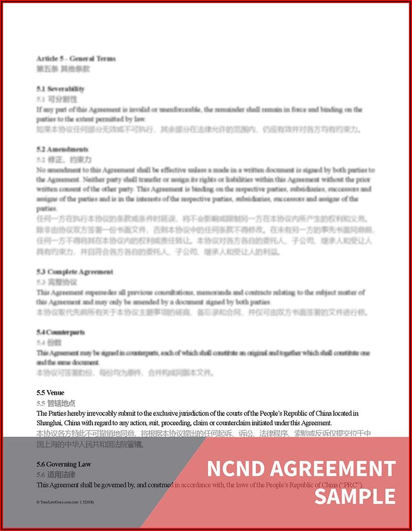Non Disclosurenon Usenon Circumvention Agreement China Template