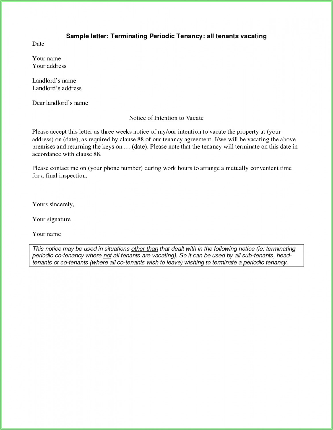 Notice To Vacate Template From Landlord