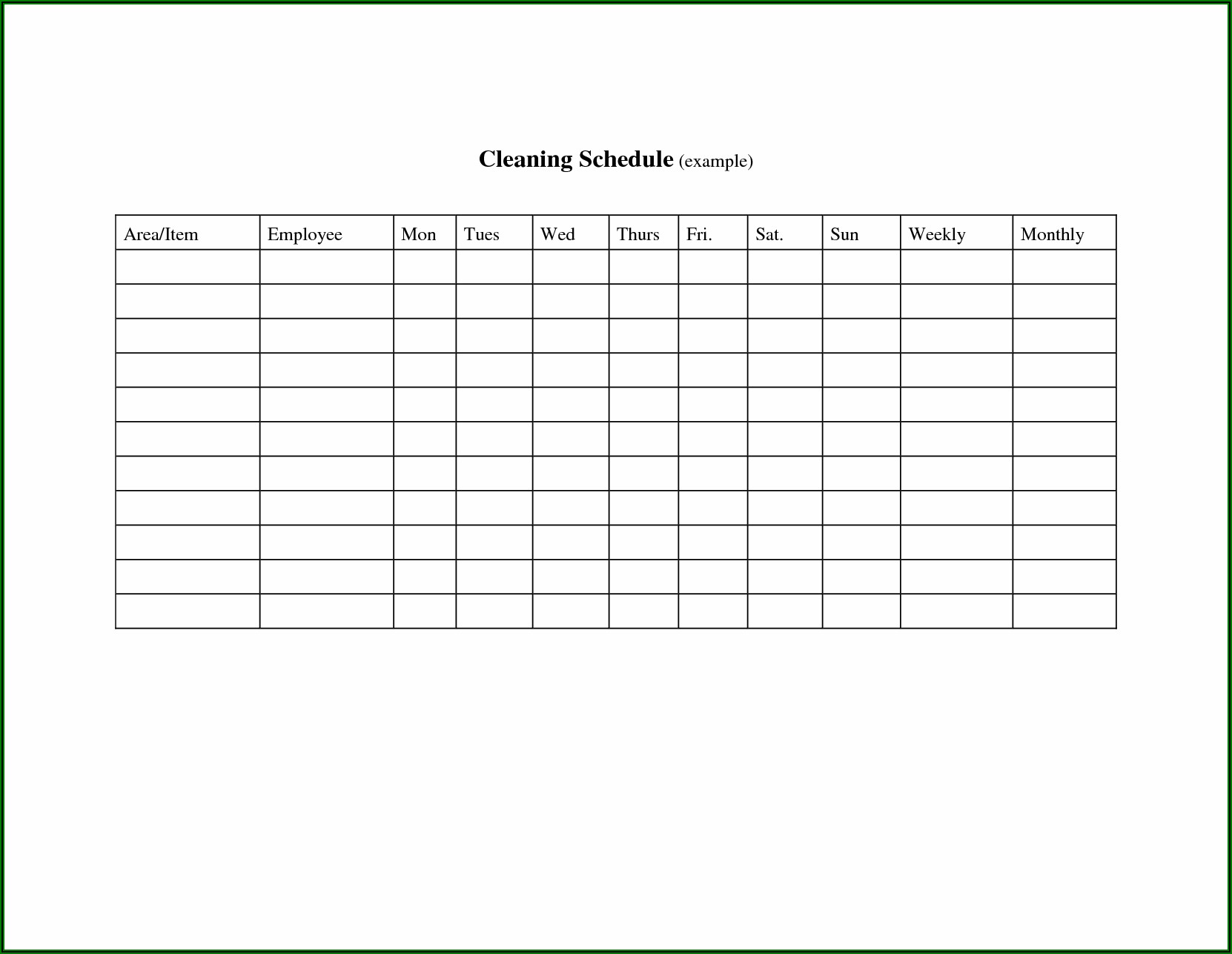 Nursing Home Cleaning Schedule Template