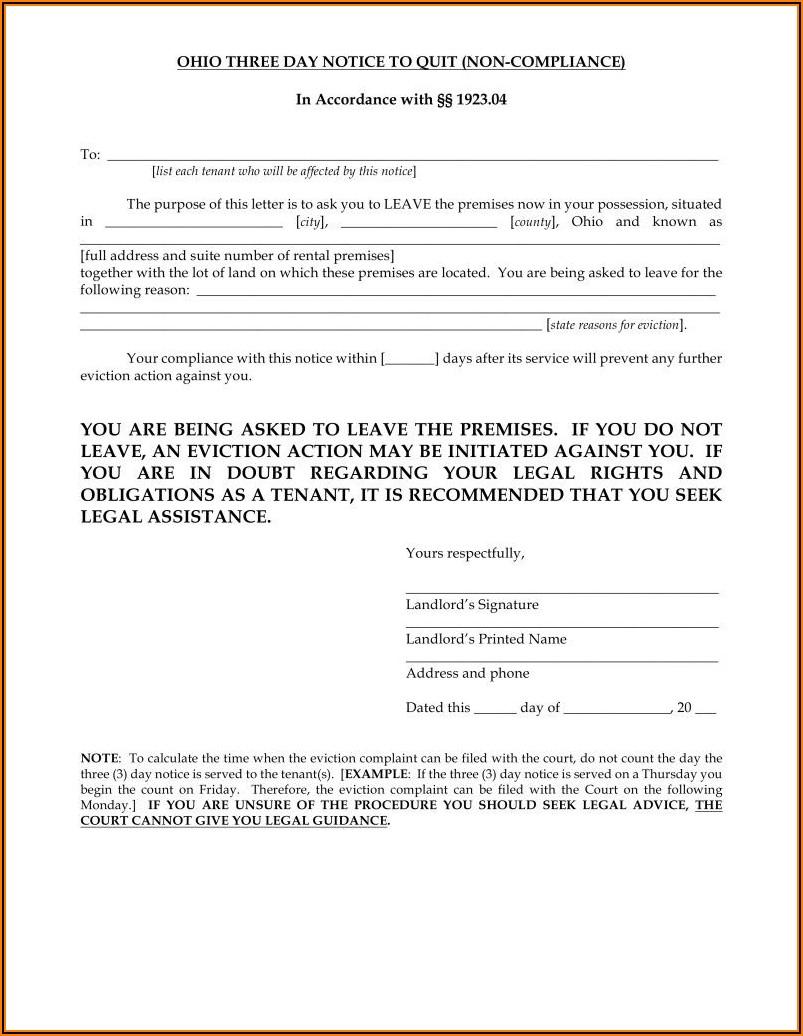 Ohio Eviction Notice Form
