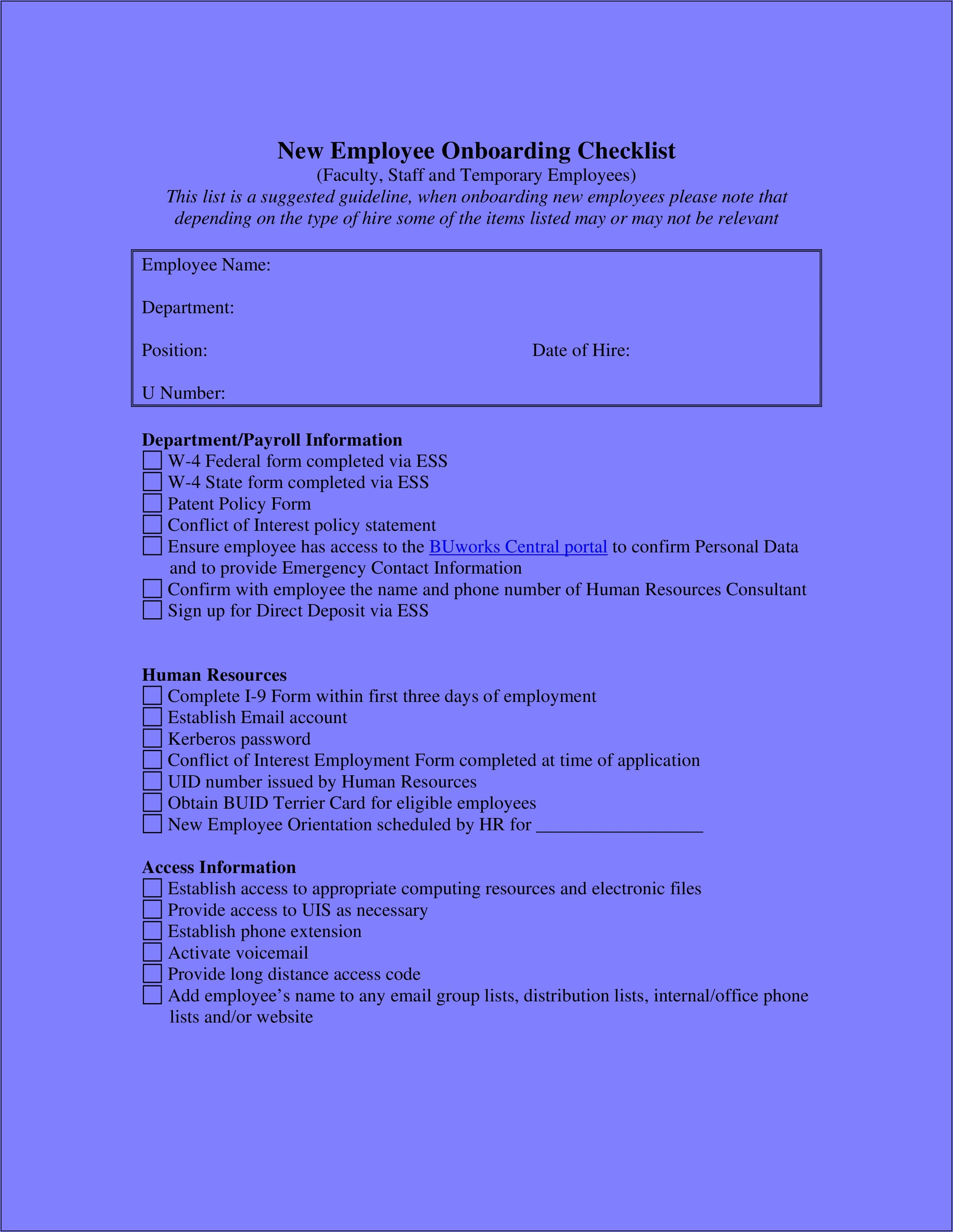 Onboarding Checklist Templates