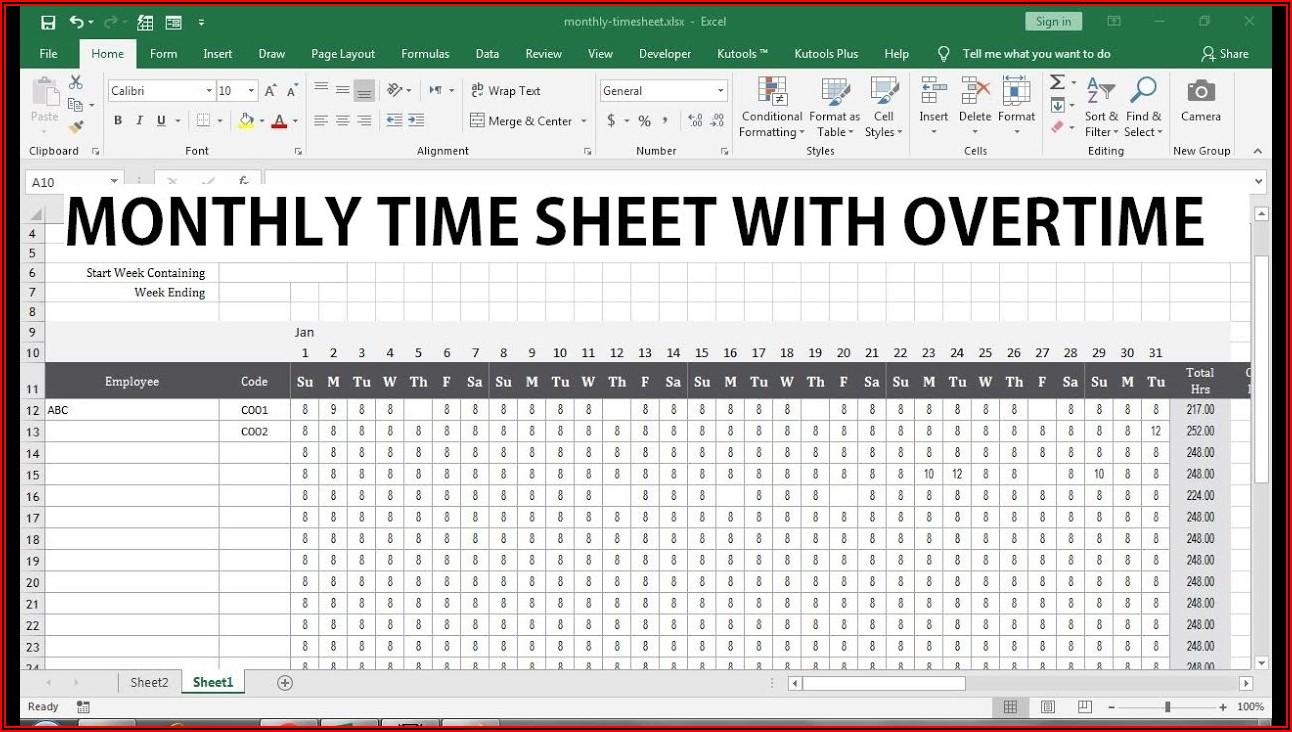 Overtime Timesheet Template
